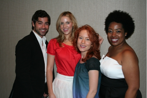 Daniel Torres (upcoming Godspell), Sara Chase (upcoming Godspell), Maria Thayer (upcoming Godspell at Broadway Stands Up for Freedom
