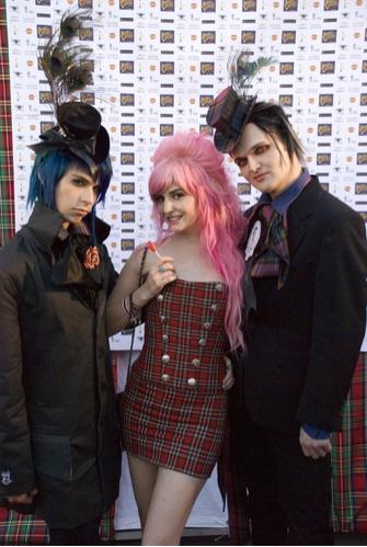 Punk Plaids Kaiden Blake (blue hair), Audrey Kitching (pink hair) and Clint