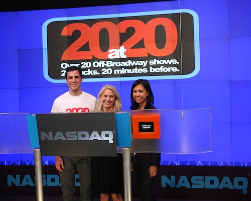 Ken Davenport, Catherine Russell, and Maribel Aber at 20 at 20 Nasdaq Closing Bell