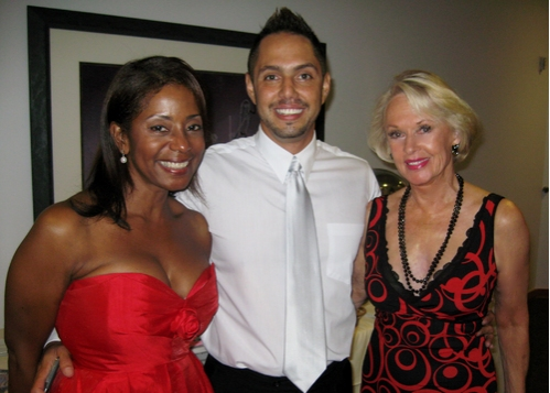 Donzaleigh Abernathy with gala producer Chris Verdugo and Tippi Hedren