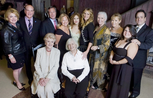 Seated, from left, Angela Lansbury, honoree; Joanne Woodward, Westport Country Playhouse artistic director.  Standing, from left, Suzanne and Bob Wright, honorees; Jeffrey Kindler and Sharon Sullivan, gala co-chairs; Bernadette Peters, presenter of a trib