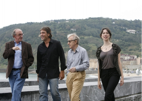 Jaume Roures, Javier Bardem, Woody Allen and Rebecca Hall