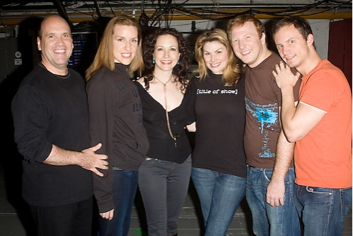 Larry Pressgrove, Susan Blackwell, Bebe Neuwirth, Heidi Blickenstaff, Hunter Bell, and Jeff Bowen
