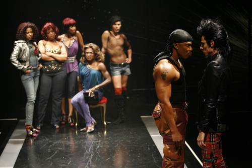 Rebecca Naomi Jones (Fay), Angela Grovey (Fate), McKenzie Frye (Faith), Nathan Lee Graham (Rey Rey), Joshua Cruz (Venus) and in foreground (l-r) Erik King (Lucian) and Sean Patrick Doyle (Loki)