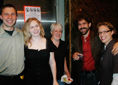 Props Master Jessica Meirs, Technician Sue Barr and Lighting Designer Josh Bradford celebrate with opening night guests