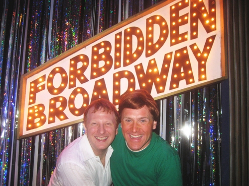 Hunter Bell and  Forbidden Broadway's Jared Bradshaw