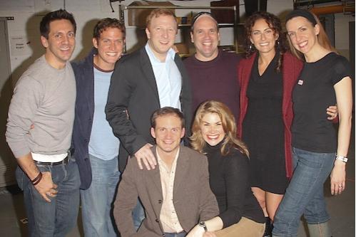 Michael Berresse, Steven Pasquale, Hunter Bell, Larry Pressgrove, Laura Benanti, Susan Blackwell, (front) Jeff Bowen and Heidi Blickenstaff