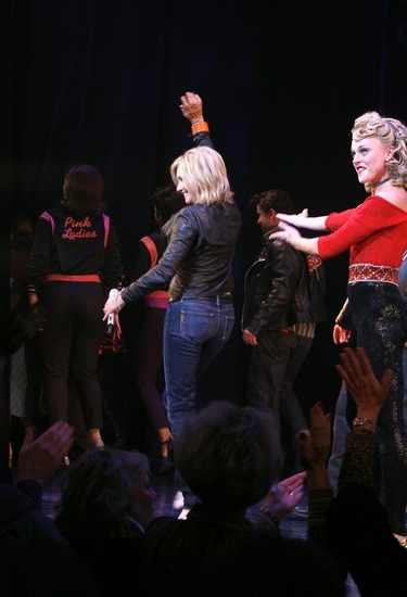 Photo Coverage: Olivia Newton-John Visits 'Grease' to Promote Breast Cancer Awareness
