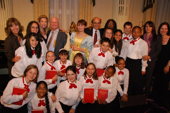 Students from Marine Park Intermediate School 278 with Marin Mazzie, Gerald Schoenfeld, Joel Klein, and Whoopi Goldberg