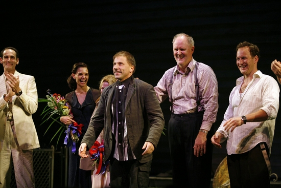 Simon McBurney and the cast