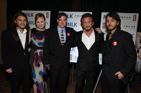 Emile Hirsch, Alison Pill, Gus Van Sant, Sean Penn and Diego Luna