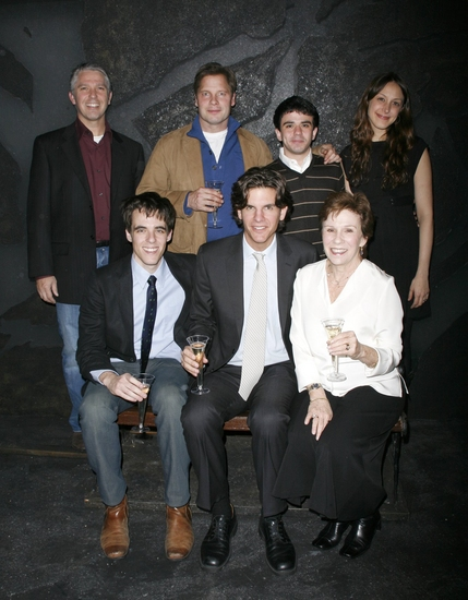(L-R front row) Steven Levenson (Playwright,) Alex Timbers (Director,) Maggie Burke (L-R back row) Michael Warner, Gio Perez, and Natalie Gold
