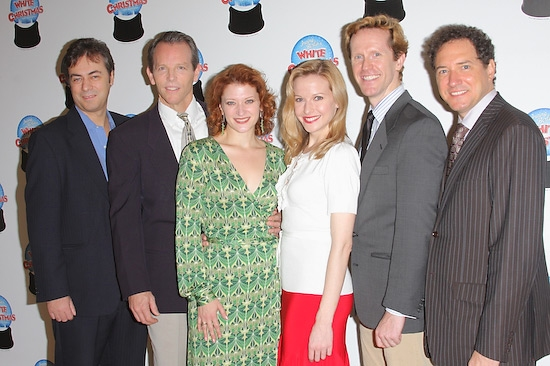 Producers John Gore and Kevin McCollum with Stephen Bogardus, Kerry O'Malley, Meredith Patterson, and Jeffry Denman