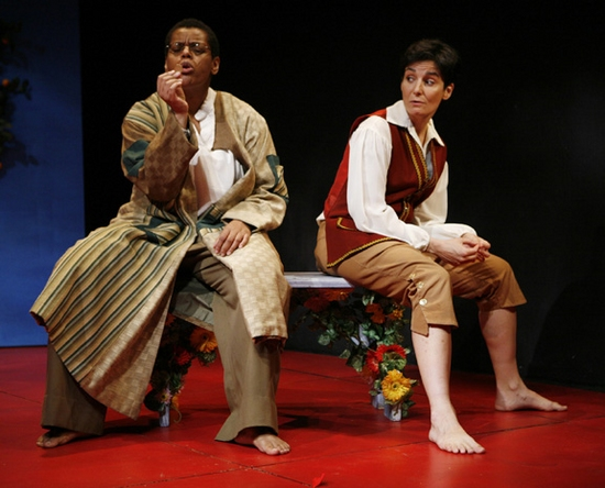Natalie Lebert as Feste and Virginia Baeta