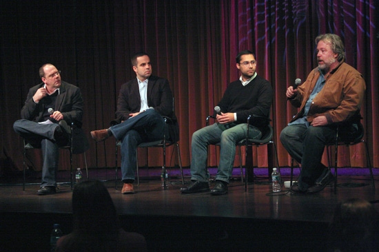 David Cote, Damian Bazadona, Mike Arauz, and Tom Hulce at 'On Stage With Spring Awakening' at 92Street Y/Tribeca