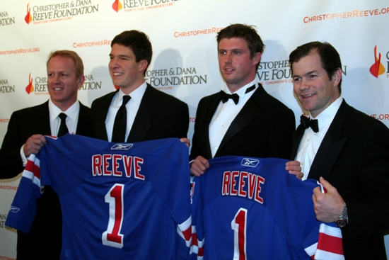 Brian Leetch, Will Reeve, Matthew Reeve and Mike Richter