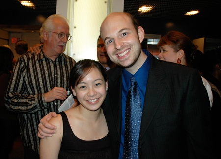 Assistant Stage Manager Gemini Quintos with Jason Goldstein, Director of Marketing and Technology
