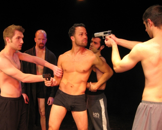 Tom Macy (Agnus), Trey Ziegler (Macbeth), Isaac Woofter (Malcolm), Nick Lawson (Donalbain), and Michael Peterson (Seyton)