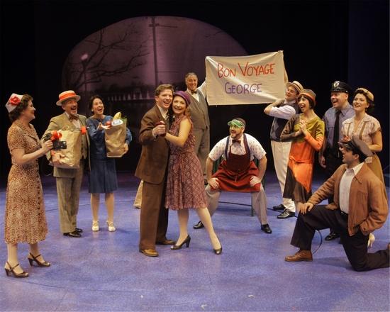 Duke Laffoon & Tara Geisler (as George Bailey & Violet Bick) and company of A Wonderful Life