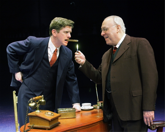 Duke Laffon (as George Bailey) and William McCauley as (Henry Potter)
