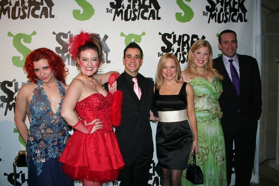 Rachel Stern, Jennifer Simard, Noah Rivera, Carolyn Ockert-Haythe, Heather Jane Rolff and Chris Hoch at SHREK The Musical Opening Night Party