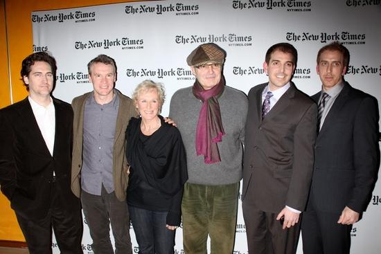 DAMAGES team, Daniel Zelman (co-creator), Tate Donovan & Glenn Close, Michael Nouri, Glenn Kessler (co-creator) & Todd A. Kessler (co-creator)