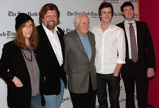 Patti Smith, Oskar Eustis, Galt MacDermot, Gavin Creel, and Patrick Healy
