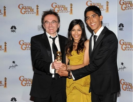 Danny Boyle, Freida Pinto and Dev Patel