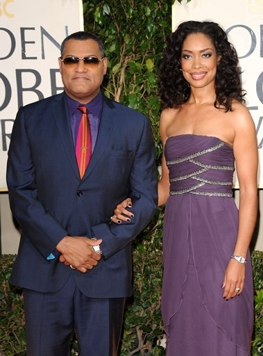Laurence Fishburne and Gina Torres  at 66th ANNUAL GOLDEN GLOBES - The Arrivals