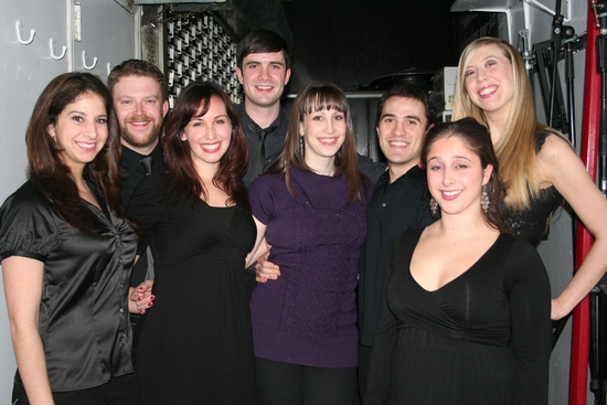 Natalie Weiss (center) with the Monday Nights New Voices Choir; Melanie Burg, Marisa Dargahi, Jesse Kissel, Michael Lowney, Emily McNamara, Erik Sisco and Angie Smith at Scott Alan Returns to Birdland
