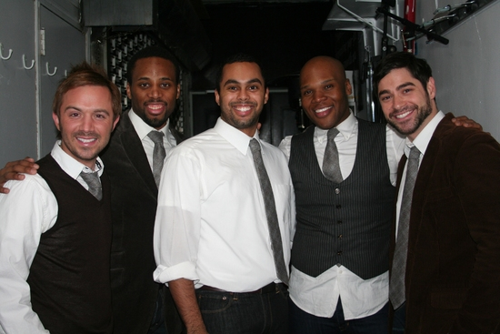 The Broadway Boys; Danny Calvert, Maurice Murphy, Jesse Nager, Michael James Scott and Daniel Torres at Scott Alan Returns to Birdland