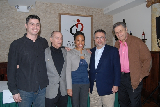 "Casimiro Torres (The Castle). David Rothenberg (WBAI Radio's Any Saturday, Direcotr of Off-Broadway's ""The Castle"") and tonights moderator, Nilaja Sun (No Child...), Richard Frankel (Producer Hairspray, Gypsy), Joseph Bologna (Co-author and Director of th"