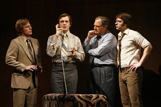 PHOTOS: Alan Cox as David Frost; Stacy Keach as Richard M. Nixon; Antony Hagopian as John Birt, Alan Cox, Bob Ari as Bob Zelnick, and Brian Sgambati as Jim Reston at 'Frost/Nixon:' The Rise and Fall of Celebrity