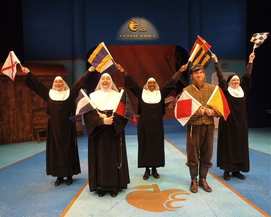 "The cast performs ""Anchors Away"" (L to R: Deborah Del Mastro, 