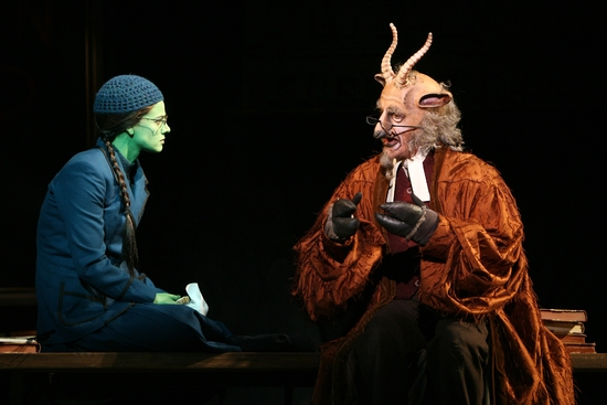 Teal Wicks as Elphaba and Tom Flynn as Doctor Dillamond at Cast of WICKED San Francisco