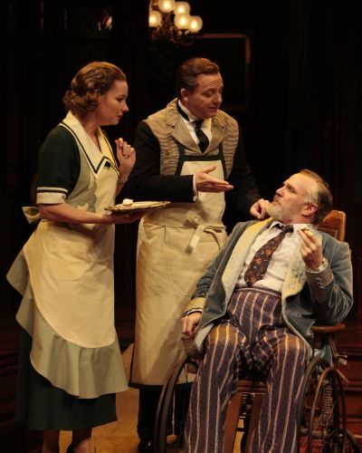 Jeffrey Bean as John, Sara Gaston as Sarah and James Black as Sheridan Whiteside