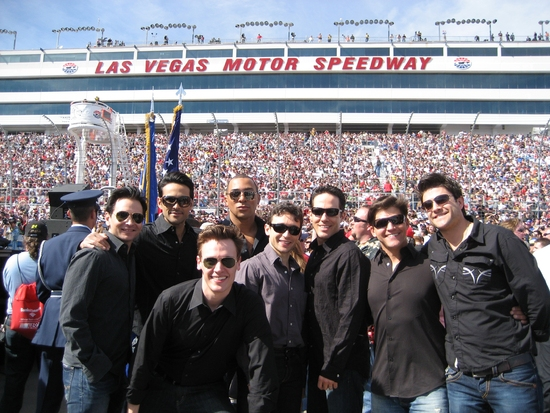 Travis Cloer, Jason Martinez, Erich Bergen, Charl Brown, Rick Faugno, Jeff Leibow, Deven May and Kristofer McNeeley at JERSEY BOYS Vegas at Shelby 427 Sprint Cup