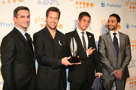 GLAAD President Neil Giuliano, Brad Rowe, Trevor Wright, David Moritz (CEO of Society Awards) unveil the newly redesigned GLAAD Media Awards statuette