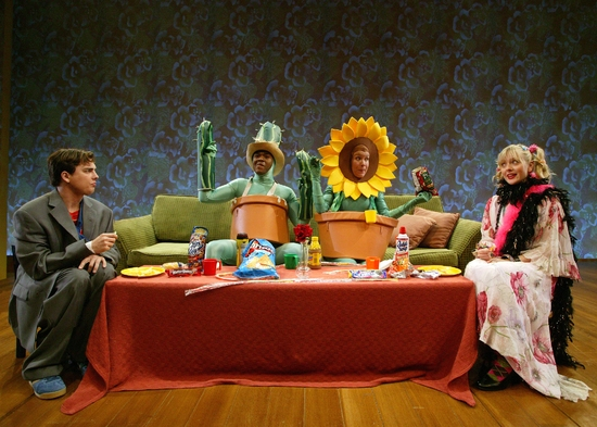 Guilford Adams, Larry Bates, Heidi Dippold and Eliza Pryor Nagel in SCR's 2004 World Premiere of Mr. Marmalade