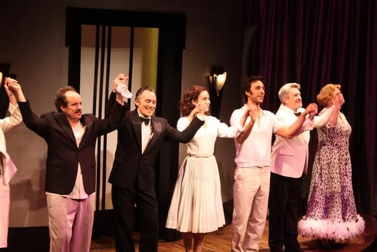 Curtain Call (L-R): John Pankow, David Aaron Baker, Laura Benanti, Amir Arison, Richard Poe, Kristine Nielsen