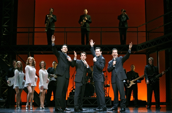 Josh Franklin, Joseph Leo Bwarie, Matt Bailey, Steve Gouveia and the Company of JERSEY BOYS at JERSEY BOYS National Tour