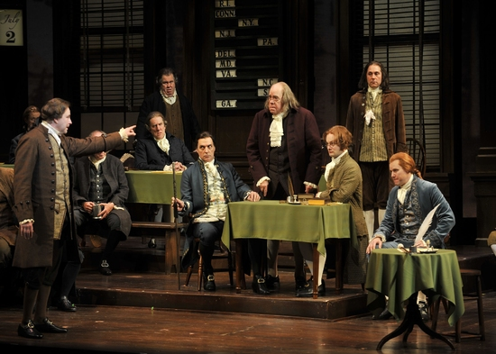 Don Stephenson (John Adams), Robert Cuccioli (John Dickinson), Conrad John Schuck (Benjamin Franklin), Kevin Earley (Thomas Jefferson), and the Cast