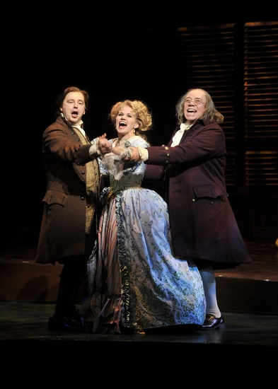 Don Stephenson (John Adams), Lauren Kennedy (Martha Jefferson), and Conrad John Schuck (Benjamin Franklin)