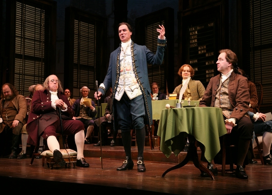 Conrad John Schuck (Benjamin Franklin), Robert Cuccioli (John Dickinson), Jamie LaVerdiere (James Wilson), Don Stephenson (John Adams) and the Cast