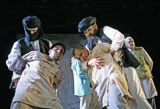 Hugh Skinner, Danny Rahim, Vincent Ebrahim & Sagar Arya & Paul Bhattacharjee at The Great Game: Afghanistan At Tricycle Theater