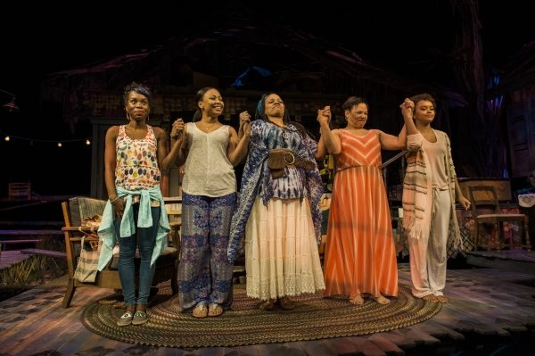 The cast of THE BLOOD QUILT takes their bows during curtain call on opening night. Pictured: Afi Bijou as Zambia, Nikiya Mathis as Cassan, Tonye Patano as Clementine, Caroline Clay as Gio and Meeya Davis as Amber.