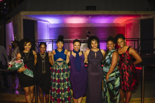 The cast of THE BLOOD QUILT: Meeya Davis, Afi Bijou, Nikiya Mathis, Caroline Clay and Tonye Patano with playwright Katori Hall and director Kamilah Forbes
