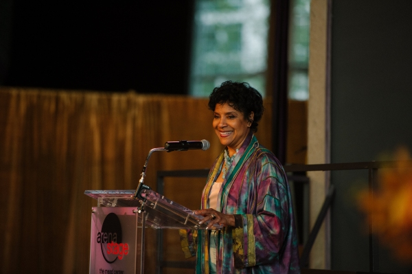 Phylicia Rashad, honorary event chair, gives remarks during a seated pre-show dinner