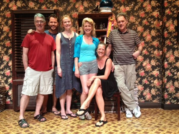 Michael Rupert, Matthew Humphries, Gretchen Hall, Leslie Hendrix, Karen Ziemba and Michael Cullen on the set of 7th Monarch at Theatre Row