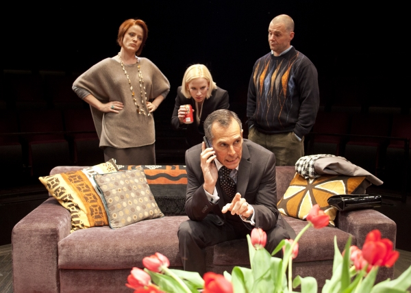 (from left) Erika Rolfsrud as Veronica Novak, Caitlin Muelder as Annette Raleigh, T. Ryder Smith as Alan Raleigh and Lucas Caleb Rooney as Michael Novak in the San Diego Premiere of God of Carnage by Yasmina Reza, translated by Christopher Hampton and dir